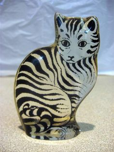 Abraham Palatnil Black & Clear Cat Figurine listed by eBay user alsjazzygirl for $49.99 6/9/14