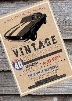 Muscle car lover's 30th, 40th, 50th or 60th birthday invitation by NeverStopCelebrating on Etsy