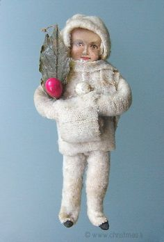 HE OLD CHRISTMAS STATION - Cotton Snow Child :: old christmas ornament :: Dresden Paper :: antique German Christmas Decorations :: Sebnitz :: Figural Glass :: Belsnickle :: Holly Berry :: Christmas Rarities