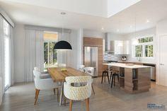 plan de maison saine de Dessins Drummond no. 3723-DJG, maison saine ! maison urbaine, maison contemporaine, espace ouvert, ilot, cuisine, salle à manger