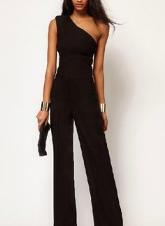One+shoulder+cultivate+black+jumpsuit,++Other,+day+attractive+jump+suit,+Chic