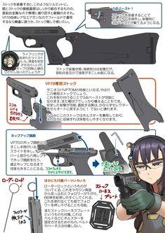 タニオコバ ガスガン HK VP70M 2 Military Weapons, Weapons Guns, Guns And Ammo, Anime Military, Military Girl, M4 Carbine, Manga Tutorial, Martial Arts Workout, Anime Weapons
