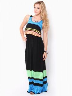 #Striped Ruched Waist Maxi #Dress