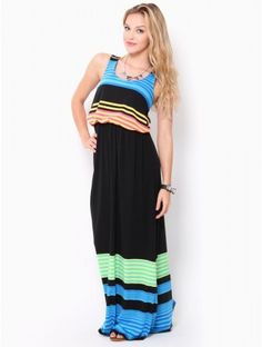 #Striped Ruched Waist Maxi #Dress