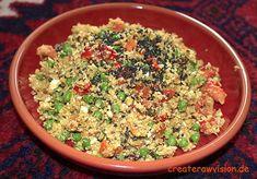 Du kannst mit Rohkost Couscous Oriental mal wieder in den Genuss kommen die orientalische Küche mit ihren köstlichen Gewürzen kennenzulernen.