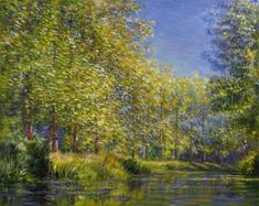 Bend in the Epte River near Giverny - Claude Monet hand-painted oil painting reproduction,poplar trees in full flower,blossom landscape art Claude Monet, Monet Paintings, Landscape Paintings, Artist Monet, European Paintings, Contemporary Paintings, Impressionist Paintings, Oil Painting Reproductions, Renoir