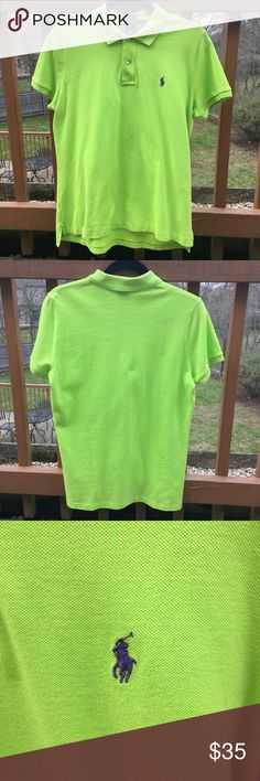 Ralph Lauren Women Skinny Fit Polo Top, Size XL/TG Like new: Ralph Lauren Women's Polo Top.  Skinny Fit.  Size XL/TG. Stunning lime green color with navy horse logo.  Great for athletic or casual wear. Ralph Lauren Tops Tees - Short Sleeve