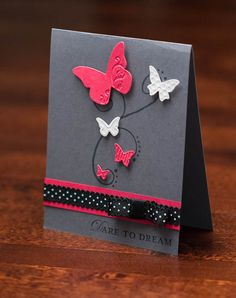 Pink & Grey Butterfly card by  Kylie Nicolosi  at Kylie's Crafty Corner