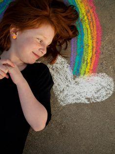 chalk rainbow photo op--adorable DIY prop!