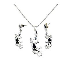 Essential Oil Diffuser Sterling Silver Rare Volcanic Lava Rock Angel Wings Pendant Necklace and Dangle Earrings Set