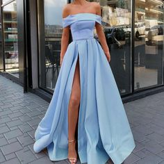 Classy Prom Dress, Fashion A-Line/Princess Sleeveless Off-the-Shoulder Sweep/Brush Train Ruffles Satin Dresses Fashion A-Linie / Princess-Linie Ärmellos Schulterfrei Sweep / Pinsel zug Rüschen Satin Kleider Prom Dresses With Pockets, Straps Prom Dresses, Prom Dresses Blue, Best Wedding Dresses, Satin Dresses, Women's Dresses, Wedding Gowns, Party Dresses, Summer Dresses