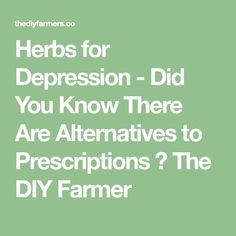 Herbs for Depression - Did You Know There Are Alternatives to Prescriptions ⋆ The DIY Farmer