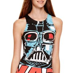 Star Wars Bodycon Tank Top ($12) ❤ liked on Polyvore featuring tops, crop tank, cropped tops, crop tank tops, bodycon crop top and bodycon tops