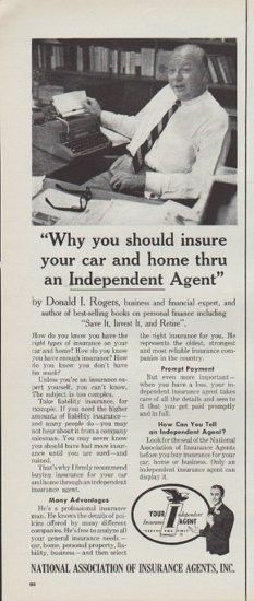 """Description: 1961 NATIONAL ASSOCIATION OF INSURANCE AGENTS vintage print advertisement """"Why you should insure your car and home""""-- Why you should insure your car and home thru an Independent Agent by Donald Rogers, business and financial expert ... How do you know you have the right types of insurance on your car and home? -- Size: The dimensions of the half-page advertisement are approximately 5.5 inches x 14 inches (14cm x 36cm). Condition: This original vintage advertisement is in Very…"""