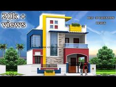 front elevation designs for duplex houses in india Building Elevation, House Elevation, House Front Design, Modern House Design, Modern Houses, Staircase Glass Design, 20x30 House Plans, Narrow House Plans, Front Elevation Designs