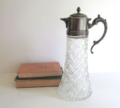 Your place to buy and sell all things handmade Water Carafe, Antique Glass, Wine Decanter, Silver Plate, Art Nouveau, Display, Antiques, Tableware, Handmade