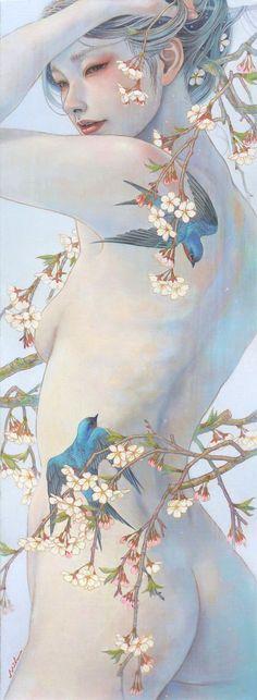 Miho Hirano. Este artista japonés crea un mundo de extraordinaria belleza, habitado por efímeras mujeres que parecen difuminarse con un maravilloso entorno en tonos pastel. Es tan fácil enamorarse de cada una de sus pinturas que me tiene absolutamente cautivada...