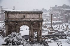 A rare sight in Rome! Residents wake to see city blanketed in snow Famous Buildings, George Washington Bridge, Winter Is Coming, Months In A Year, Outdoor Seating, Brooklyn Bridge, Beautiful Places, Places To Visit, Europe