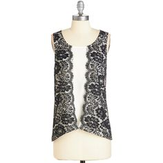 Vintage Inspired Mid-length Sleeveless Inky Echo Top by ModCloth (220 ZAR) ❤ liked on Polyvore