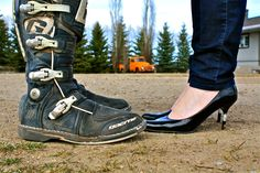 Dirtbike Boots and High Heels... total opposites.   #creative #engagment