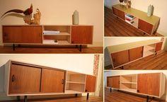 Dressoir / TV meubel van 12 mm multiplex met vintage jaren 50 elementen. Het blad is afgelakt in een frisgroene kleur.