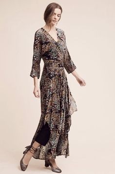 NEW Anthropologie black Silk Chiffon Velvet Floral Maxi Dress Jumpsuit Lining 6 #MoulinetteSoeurs #jumpsuitlinedMaxi #versatile