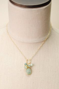 ser007 unique handcrafted simple gold filled cluster gemstone pendant necklace for women