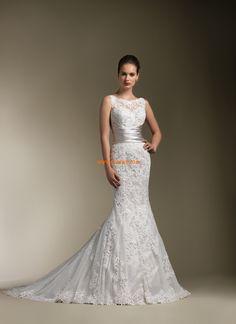 Traîne moyenne Sans manches Zip Robes de mariée de luxe