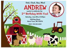 Farm Birthday Party Invitation - Digital File by PrettyPaperPixels on Etsy https://www.etsy.com/listing/208491259/farm-birthday-party-invitation-digital