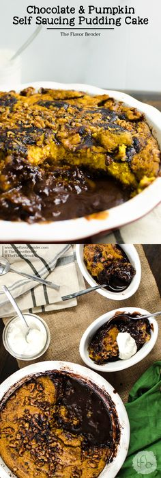 Chocolate and Pumpkin Self Saucing Pudding Cake - A warm, fudgy, chocolatey, pumkin spiced cake with a rich, goeey, hidden fudge sauce underneath - only takes minutes to prep and in just 30 minutes of baking time you have a one decadent and warm dessert to celebrate the spirit of the season!