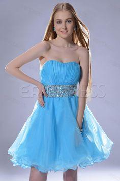 Pretty Strapless Mini-Length Empire A-Line Prom/Sweet Sixteen Dress