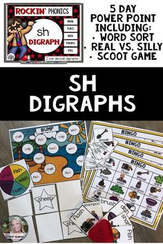 Rockin' Phonics SH digraph activities are sure to keep your lessons fun in your kindergarten or first grade classroom. Using Power point, your students get to do word sorts, learn their vowel sounds, establish phonemic awareness, and play four different p Jolly Phonics, Phonics Activities, Kindergarten Activities, Classroom Activities, Teaching Schools, Kindergarten Classroom, Teaching Ideas, Sh Words, Word Sorts