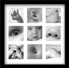 details van je baby in een collage