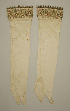 Stockings, 16th century, Italian, linen, silk and metal thread