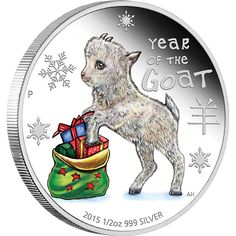Baby Goat 2015 1/2oz Silver Proof Coin   This cute baby goat coin celebrates the Year of the Goat. The birth dates for people ruled by the goat in the Chinese zodiac include 1919, 1931, 1943, 1955, 1967, 1979, 1991, 2003 and 2015. Those born under the influence of this sign are said to be elegant, charming, artistic, gifted and calm. This coin will be a wonderful addition to any coin collection, or will make a gorgeous gift for any baby born in 2015.