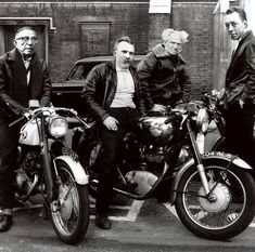 Gang of four: Camus, Schopenhauer, Nietzsche & Sartre🔥🔥🔥🔥 Vintage Bicycles, Vintage Motorcycles, Cafe Racing, Teddy Boys, Street Culture, Youth Culture, Classic Bikes, Royal Enfield, Le Mans