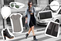 Silvia Bergomi: gonna Marc by Marc Jacobs, t-shirt Étoile Isabel Marant, clutch YSL, stivali Acne, collana Alexander McQueen, occhiali Ray-Ban