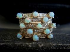 Vintage Opal and Diamond Ring Diamond Stack Ring by JennKoDesign on Etsy https://www.etsy.com/listing/181376976/vintage-opal-and-diamond-ring-diamond
