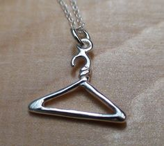 COAT HANGER Sterling Silver Charm with a Sterling Silver by AgHalo, $14.00