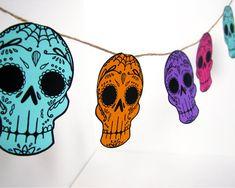 Printable Sugar Skull Garland- DIY decor - Day of the Dead  - Dia de los Muertos - Colorful - Wedding- Teal on Etsy, $5.00