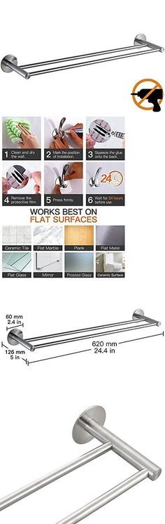 Hooks and Hangers 36024: Wangel Strong Adhesive Double Towel Bar 24 Patented Glue + 3M Self-Adhesive ... -> BUY IT NOW ONLY: $45.23 on eBay!