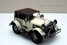 Metal Vintage Car model White 1014 Vintage Cars, Antique Cars, Route 66, Contemporary, Metal, Metals, Classic Cars, Retro Cars
