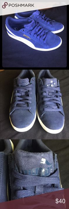 Puma Sneakers Dark Blue Suede Puma Sneakers women's size 7 but I'm a 7.5 and they fit perfectly. Worn a handful of times, in great condition. Can only tell they've been worn on the bottoms which is pictured. Will post more pictures if requested! Price pretty firm but will consider reasonable offers! Puma Shoes Sneakers