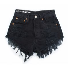 "ALL SIZES ""PLAINO2"" Vintage high-waisted denim shorts black distressed... (710 UYU) ❤ liked on Polyvore featuring shorts, bottoms, short, pants, destroyed denim shorts, high-waisted shorts, denim shorts, high-waisted jean shorts and high waisted shorts"