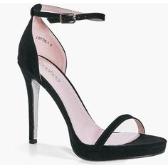 Boohoo Ella Platform Glitter Sole Sandal   Boohoo found on Polyvore featuring shoes, sandals, heels, black, chunky heel shoes, chunky platform sandals, slip on sandals, platform sandals and chunky-heel sandals