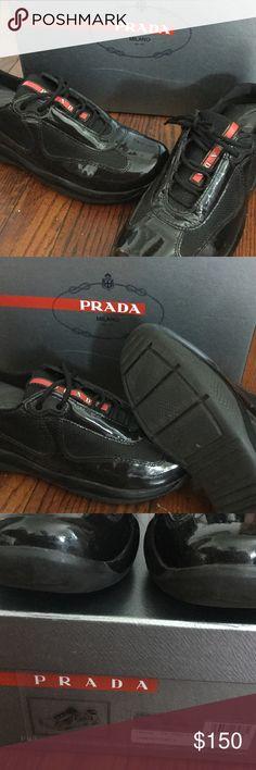 pink and black prada sneakers