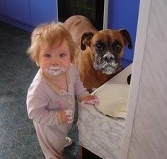 Boxer and baby, I love these kinds of pictures lol