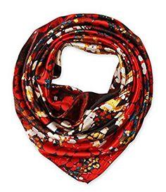 corciova Women's Neckerchief Large Square Satin Head Scarf for Long Hair KU Crimson $9.99 Free Shipping