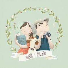 Ilustración original personalizada a cada pareja de Les Siamoises
