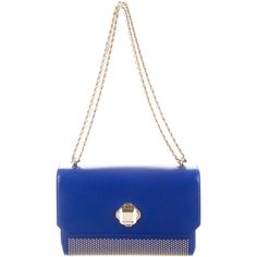 Pre-owned Elie Saab Stud Embellished Shoulder Bag ($425) ❤ liked on Polyvore featuring bags, handbags, shoulder bags, blue, purse shoulder bag, man shoulder bag, man bag, white leather purse and hand bags
